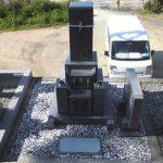 坂出市の地域墓地に庵治細目石の10寸三重台やすらぎ型のお墓が完成しました。
