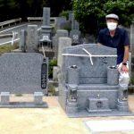 岡山県倉敷市でお墓の建替え工事。庵治細目特級石のデザイン墓石が完成し、お参りしやすい墓地になりました。